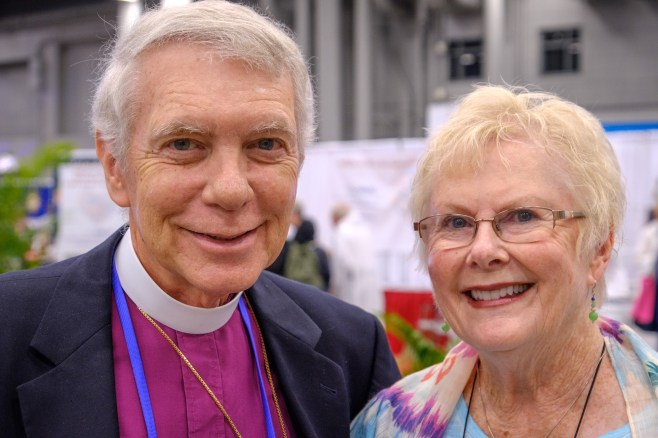 We bumped into the Seventh Bishop of The Diocese of West Missouri, Barry Howe and Mary Howe in the Exhibition Hall this afternoon. Image: Gary Allman