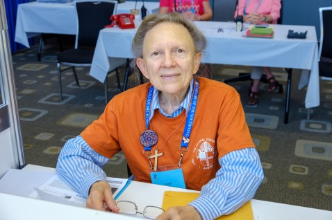 Louise Channing, St. Paul's, Maryville, Missouri, is assisting at the Convention Help Desk. Louise also serves the Church as a Lay Eucharistic Visitor. Image: Gary Allman