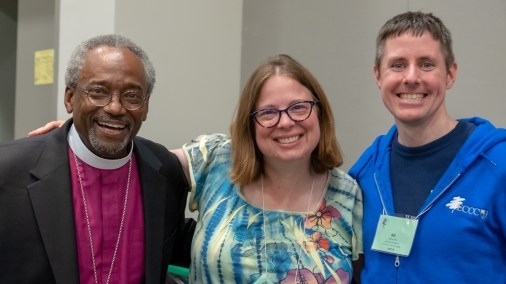 Presiding Bishop Michael Curry, Karen Mackey, Diocese of Louisiana, Bill Solcumb, Episcopal Camps and Conference Centers. One day I\'ll have my picture taken with the PB! Image: Gary Allman