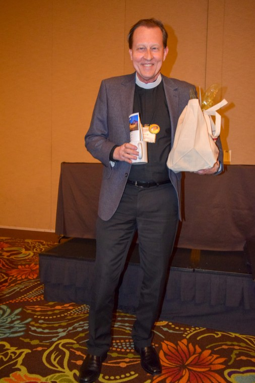 Welcome package for The Rev. Larry Ehren. Image: Donna Field