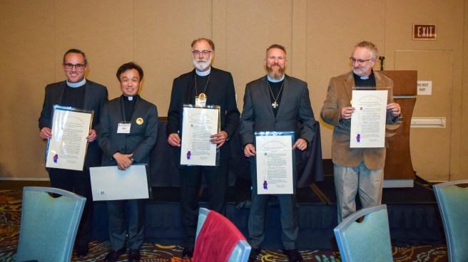 (L-R) The Rev. Marco Serrano, the Rev. Sean Kim,., the Rev. Chandler Jackson, the Rev. Bradley Heuett, and the Rev Jeff Hurst. Image: Donna Field