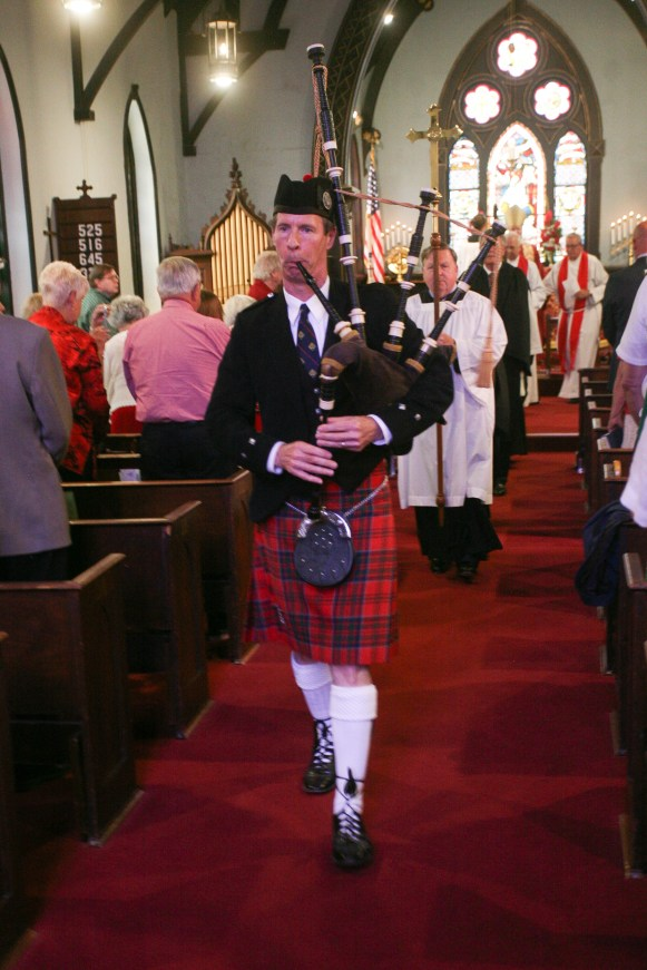 Recessional, led by bagpiper. Christ Church Lexington - 175th Anniversary. Image credit: Tim Ross