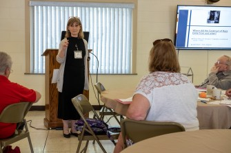 Cheryl Cementina discussing the definition of 'Race' at the 'Seeing the Face of God in Each Other' workshop on June 22, 2019. Image credit: Gary Allman