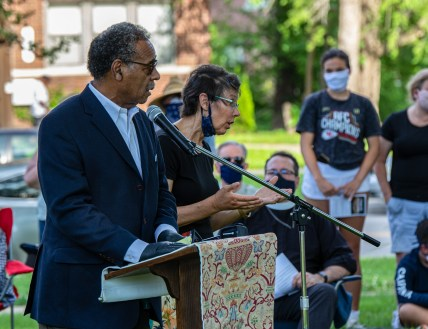 Prayer for Racial Justice - The Hon. Emmanuel Cleaver II, Member of Congress addresses the assembled people. Image credit: Mary Ann Teschan