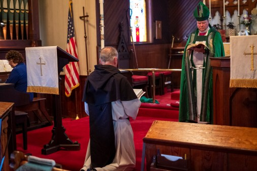 'The new Minister kneels in the midst of the church and says...' The Installation of the Rev. James Harris as Priest in Charge, All Saints' Episcopal Church, West Plains, Missouri. Image credit: Gary Allman