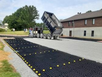 Delivering the finish gravel. Image: Chandler Jackson