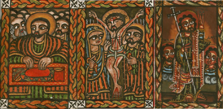 Ethiopian art in remembrance of the Last Supper, Crucifixion, and Resurrection of Christ.