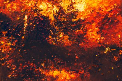 An abstract painting of fire. Leaders like Elijah give us examples to emulate.