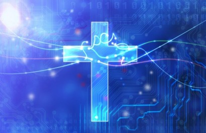 A cross on a blue circuit board. The pandemic has pushed us to become a cyber-church.