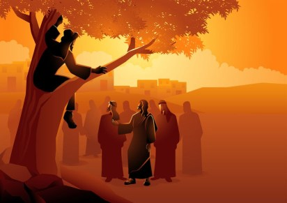 Zacchaeus up in a tree, a powerful tax collector.