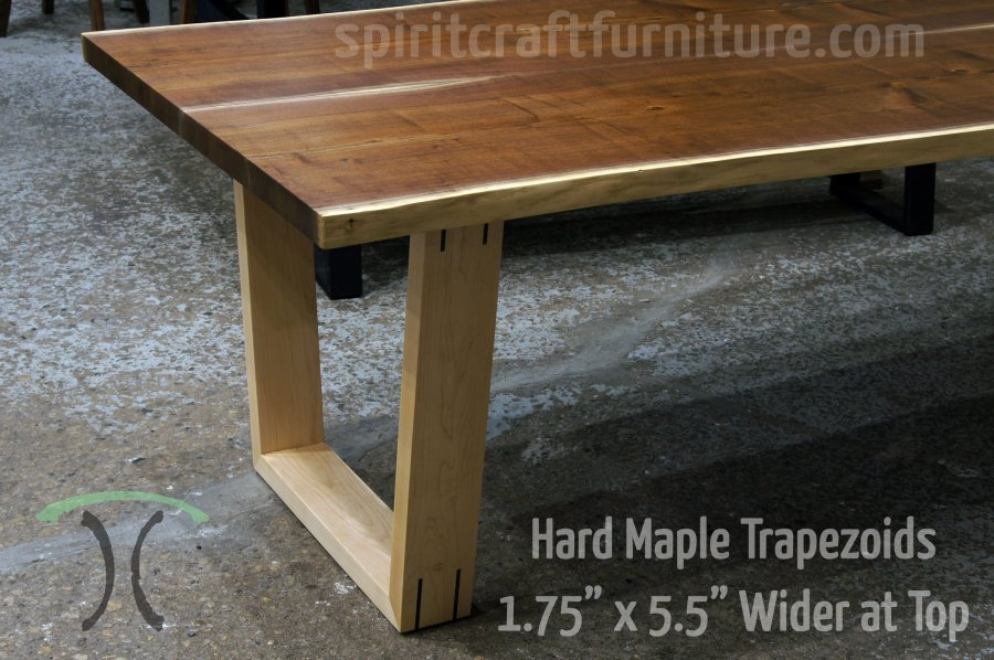Table legs and bases for hardwood slab table tops Solid Black Walnut Hardwood Trapezoid Legs  Mitered and Splined with Black  Walnut Live Edge Table