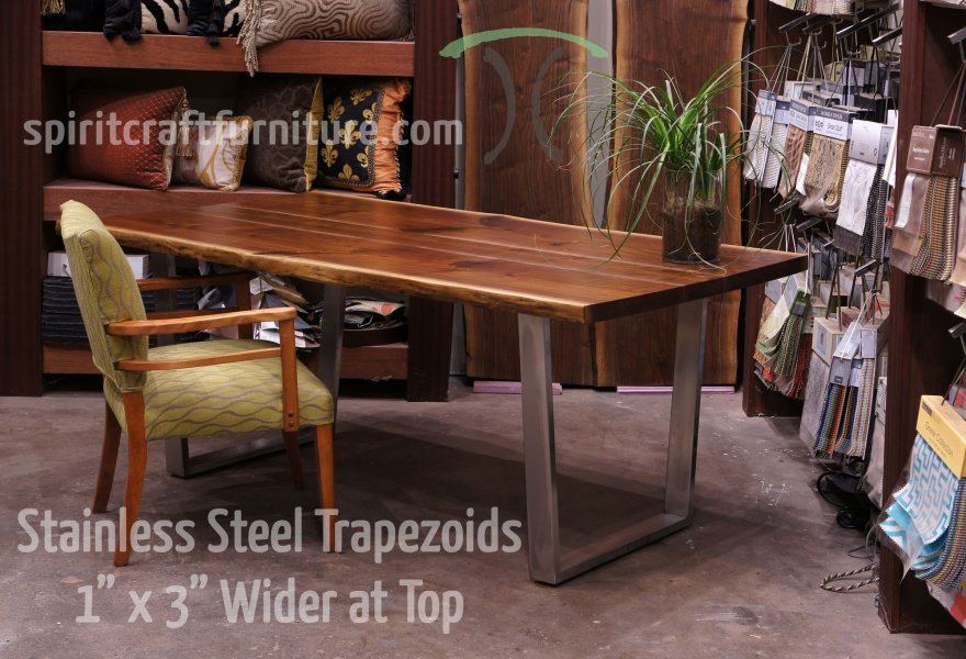 Table legs and bases for hardwood slab table tops Custom made 1 x 3 steel brushed stainless steel trapezoid legs on live edge  black walnut