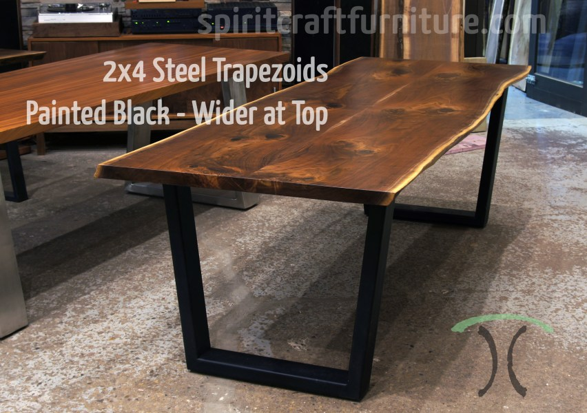 Table legs and bases for hardwood slab table tops Custom made 2 x 4 steel trapezoid legs  painted black on live edge ash table