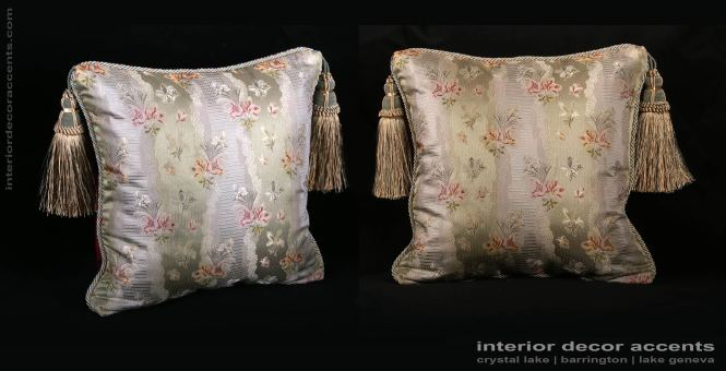 Stunning Lee Jofa Elegant Sage Colored Pure Silk Brocade Decorative Throw Pillows With Old World Weavers