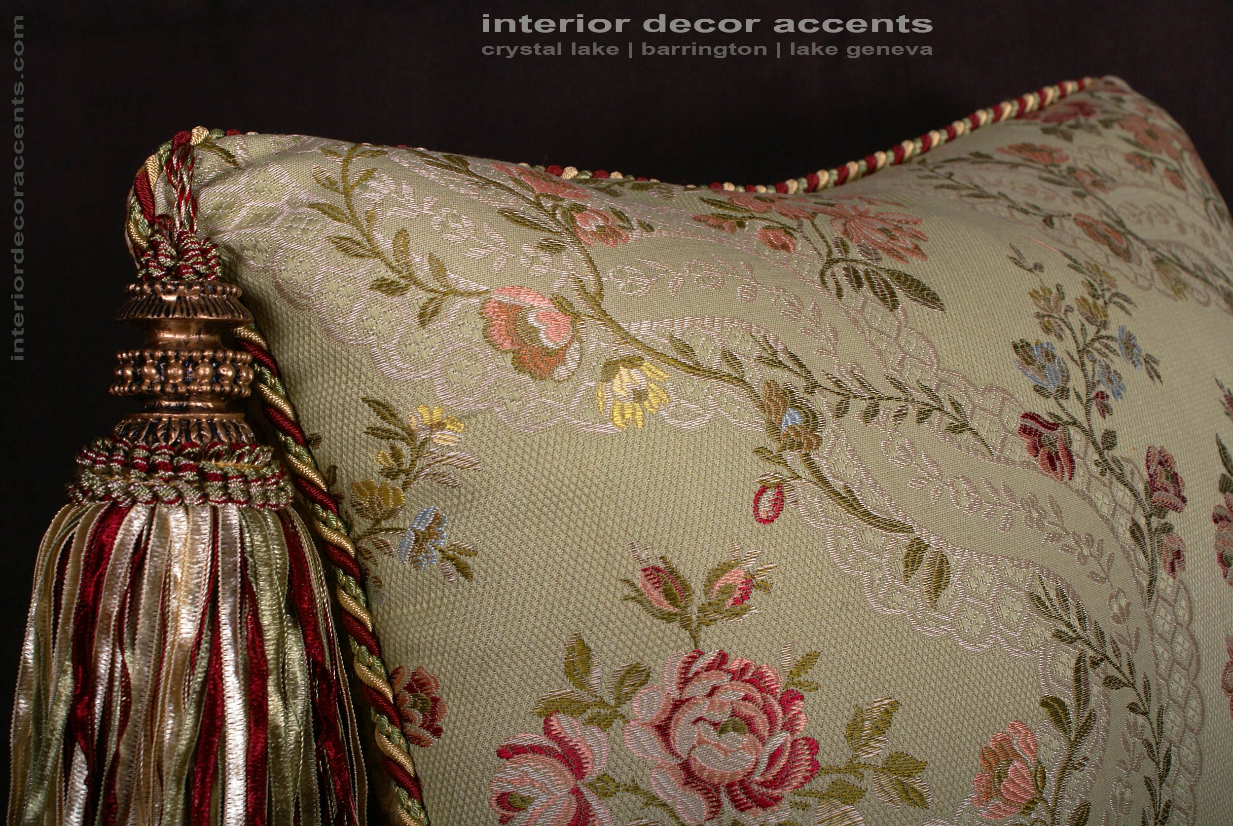 Custom Design Pillows Lee Jofa Silk Angelina Lampas In
