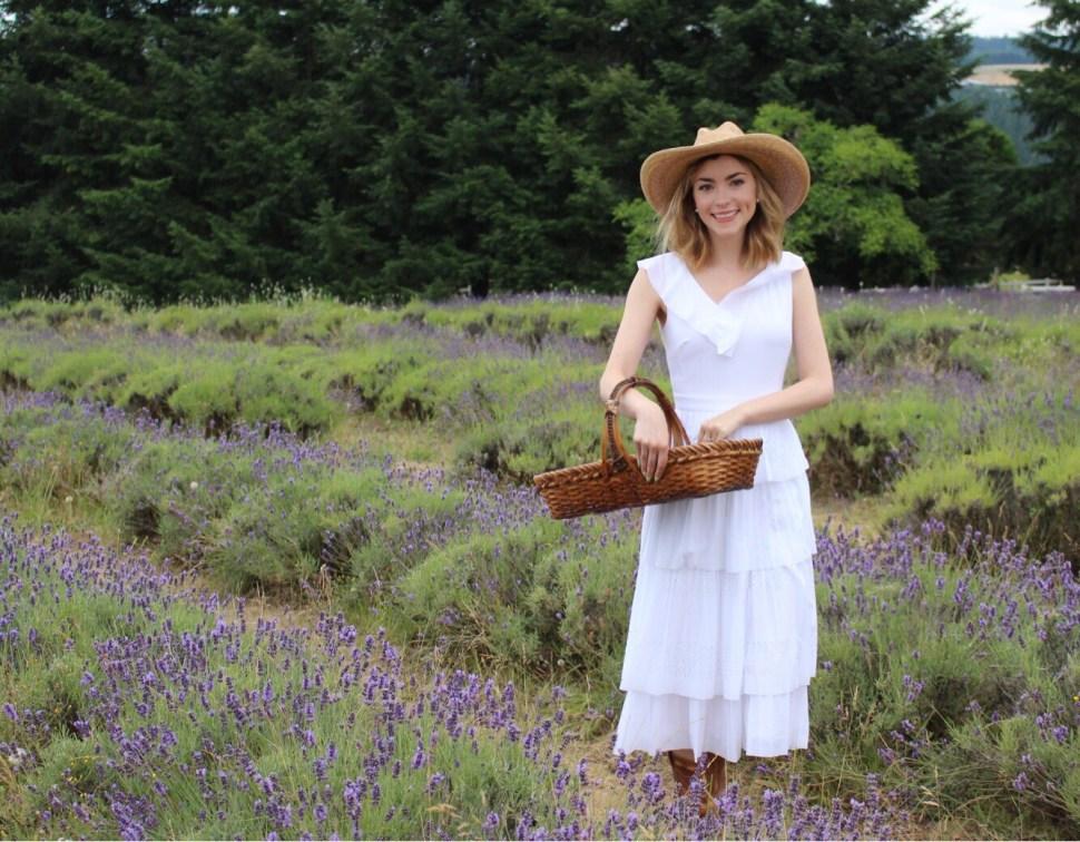 Picking lavender in Oregon.