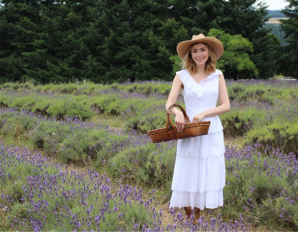 Picking lavender in Oregon.