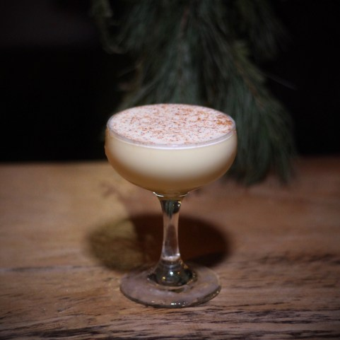 Engine Room Eggnog: Four Roses bourbon, SAF egg, cream, mangani chili pepper, syrup, and nutmeg. Photo by SpiritedLA