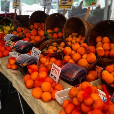 Fresh citrus including blood oranges and meyer lemons.