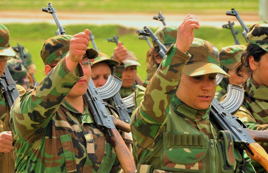 Female Peshmerga training in the field in northern Iraq
