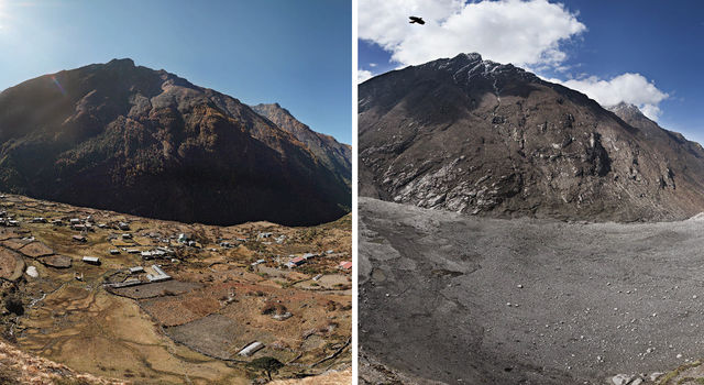 The village of Langtang, last visited by our Project Manager Chris during his military service in 2012, was completely buried by a landslide following the 2015 quake. Much of the village remains buried to this day. (Photo Courtesy of NASA/JPL)
