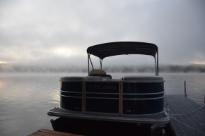 Sunrise - foggy morning on Crystal Lake in New Hampshire