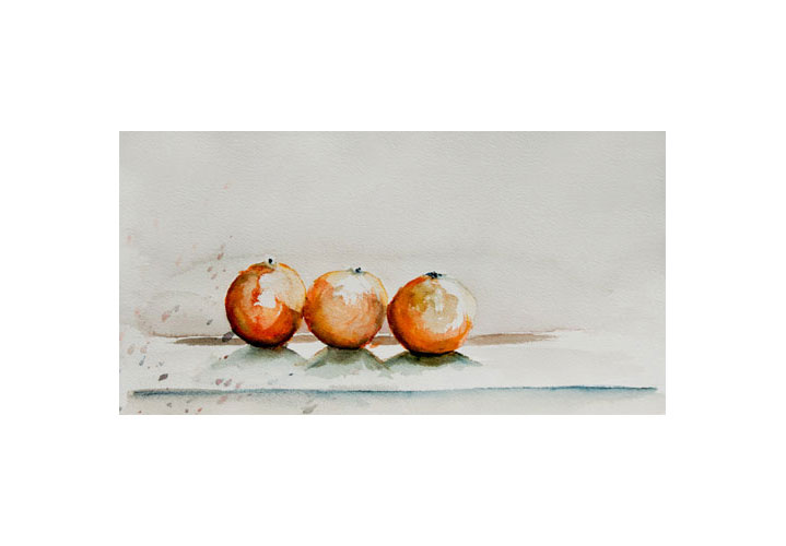 Oranges 12″ x 6.5″ Watercolour on Arches 140 lb. Cold Press Paper by Denny Manchee