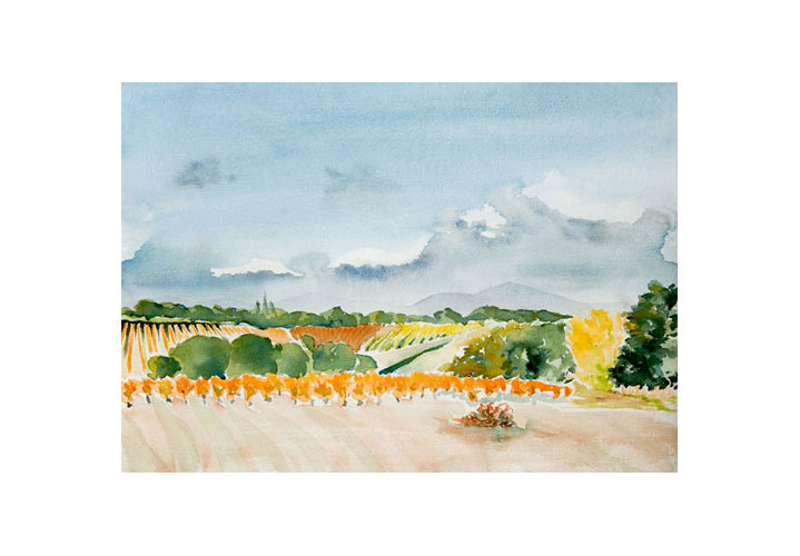 Roussillon Fall 20″ x 14″ Watercolour on Arches 140 lb. Cold Press Paper by Denny Manchee