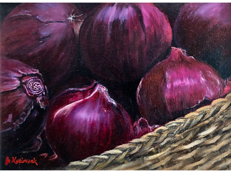 "Red Onions 9""x12"" by Josie Korimsek"