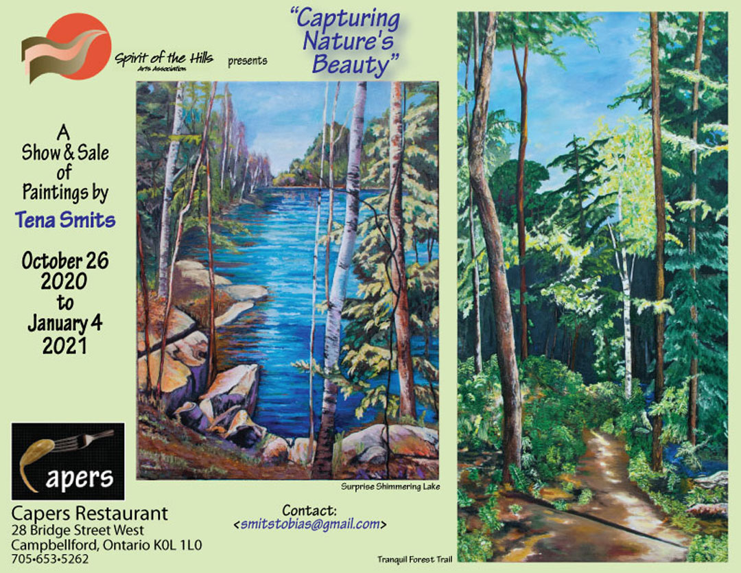 Capturing Nature's Beauty poster.  A show and sale of paintings by Tena Smits