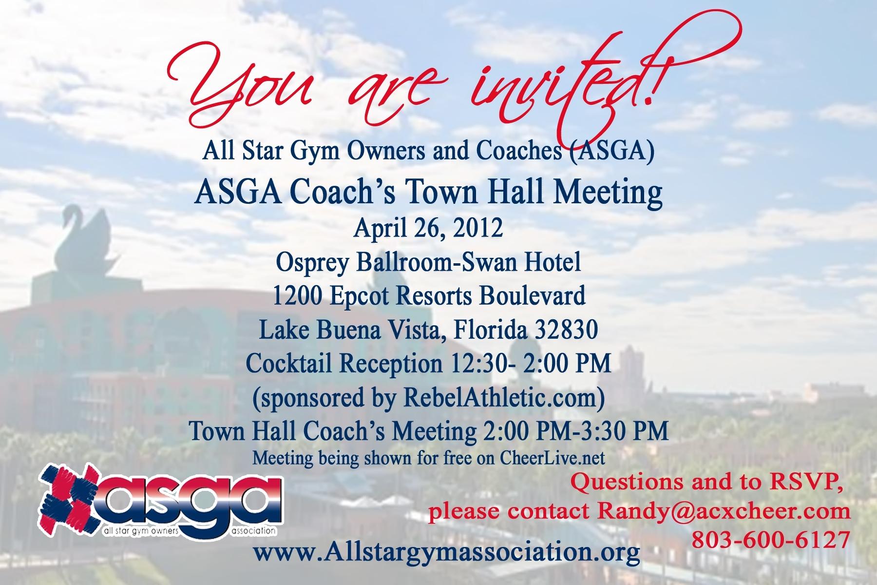 ASGA Town Hall Meeting Invitation