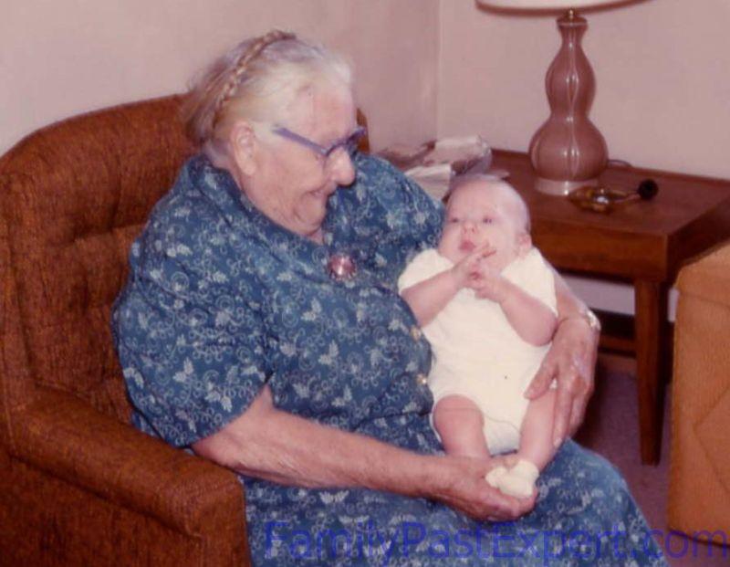 Great-grandma Fawcett and Darrin.