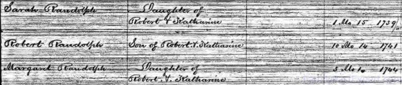 Birth records for three of Robert Fitz Randolph's children.