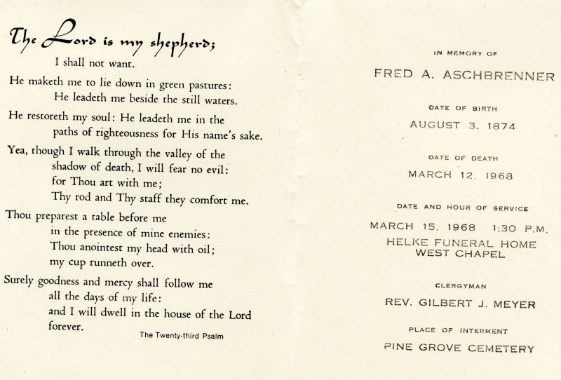 Fred Aschbrenner, funeral card
