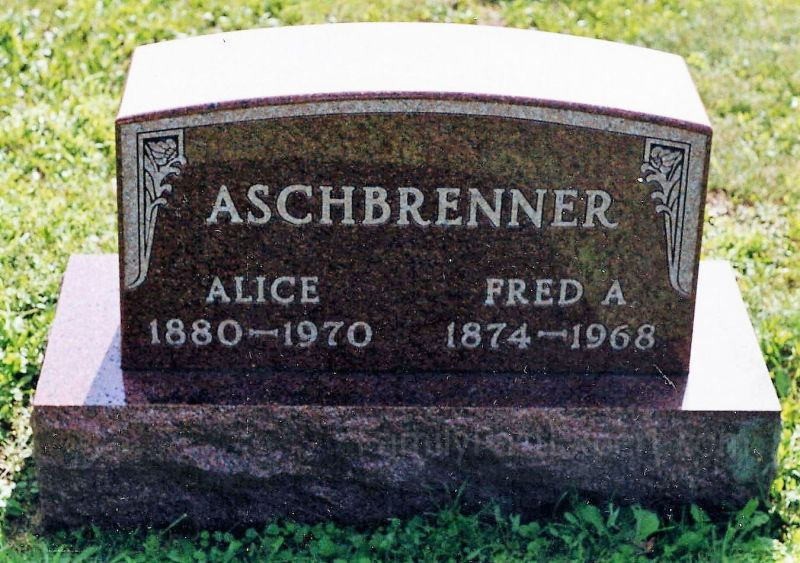 Fred and Alice Aschbrenner, graves.