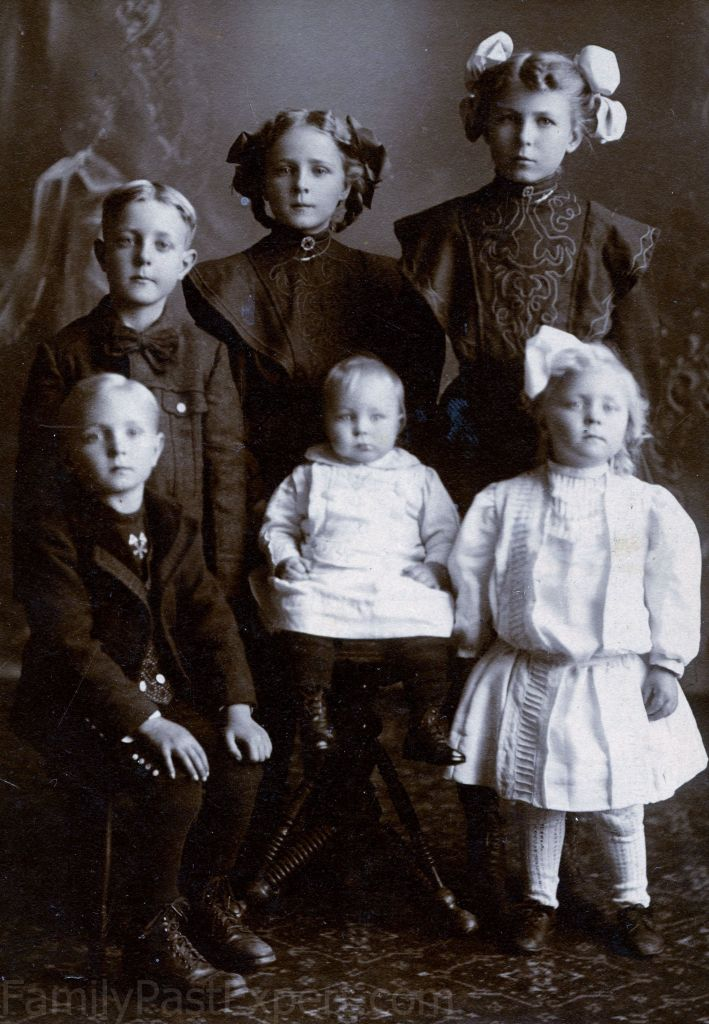 Older children in the C.B. and Bertha Christianson family. Bennett Nils is standing, back, left.