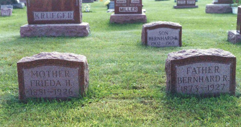 Bernhard and Frieda Krueger graves, Pine Grove Cemetery.