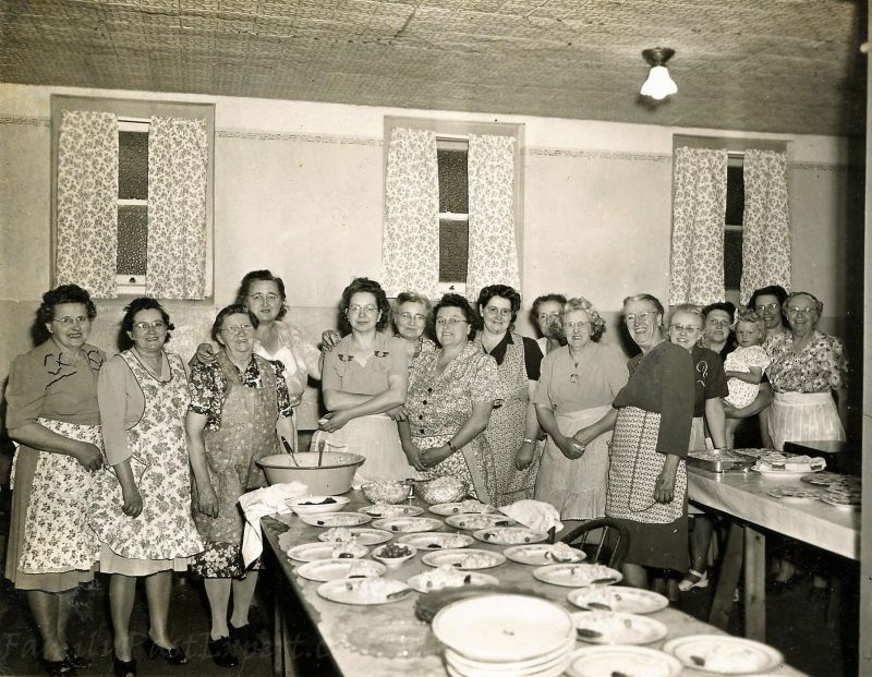 Red Oak Grove Lutheran Church women, ca 1950. Margaret is the second woman from the left.