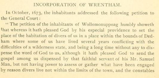 Incorporation of Wrentham.