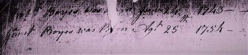 Robert and Genet Boyes births listed in Boyes family Bible.
