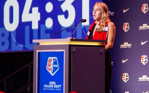 Ashley Sanchez speaking at the 2020 NWSL draft.