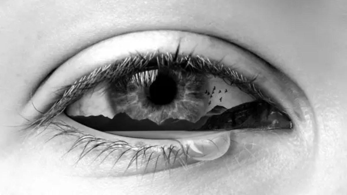 目を流れる涙 感情 悲しみ