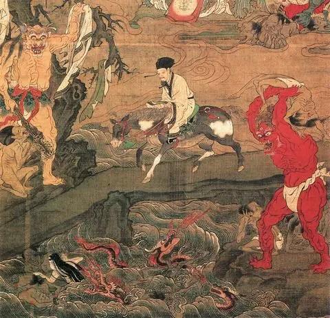 土佐光信画『十王図』にある三途川の画