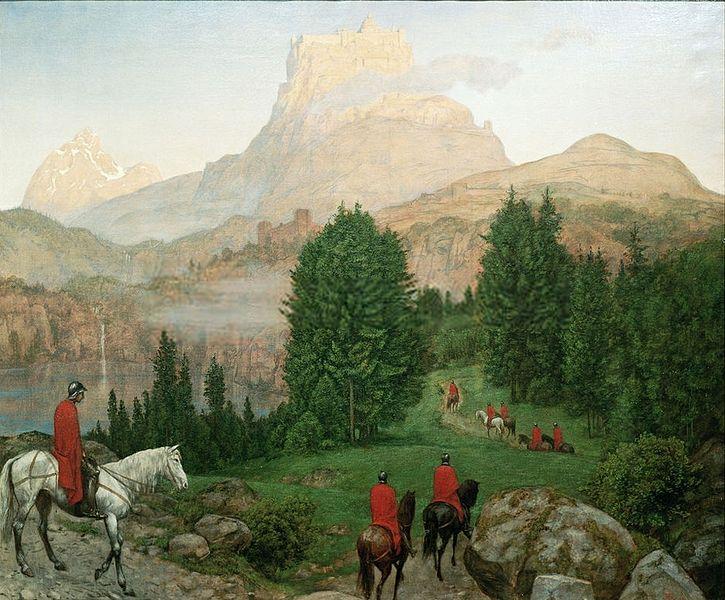 Ölgemälde 'Die Gralsburg' von Hans Thoma, 1889, Galerie im Schloss Oberzwieselau; Herkunft: artflakes.com