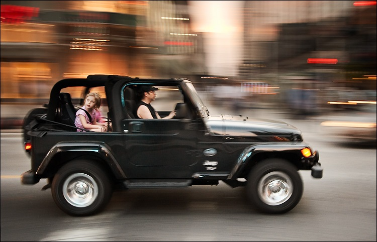 girl in jeep
