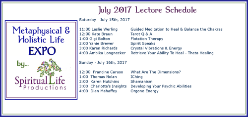July Metaphysical and Holistic Life EXPO Lecture Schedule 2017-2