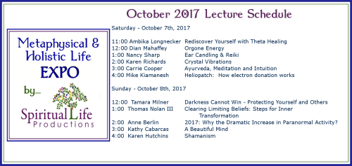 October Metaphysical and Holistic Life EXPO Lecture Schedule 2017