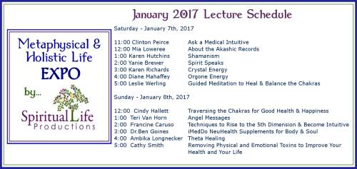 January Metaphysical and Holistic Life EXPO Lecture Schedule 2017