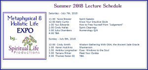July Metaphysical and Holistic Life EXPO Lecture Schedule 2018