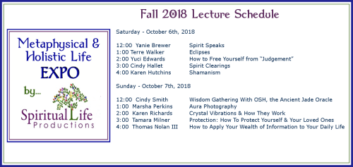 October Metaphysical and Holistic Life EXPO Lecture Schedule 2018